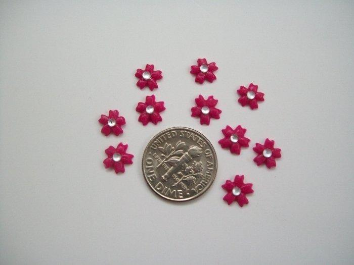 Nail Art 3D Fuschia Fimo Rhinestone Flower
