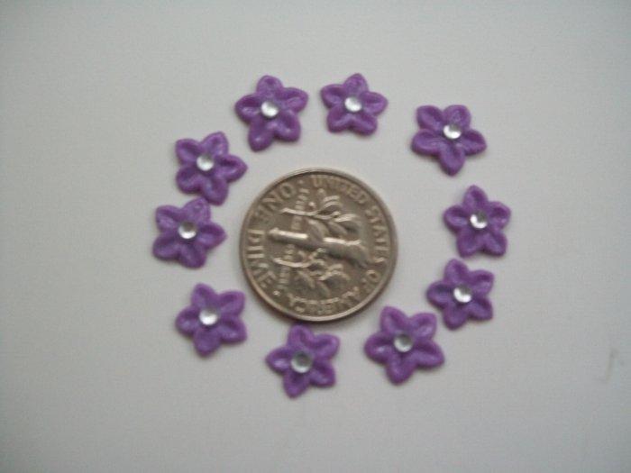 Nail Art 3D Lilac Fimo Rhinestone Star Flower