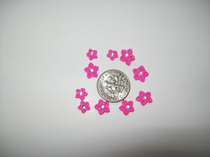 Nail Art 3D Pink Fimo Rhinestone Star Flower