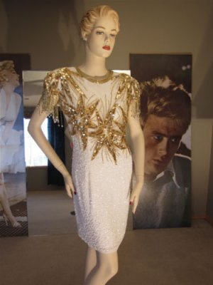 Vintage Nite Line Huge Gold Stars Beaded Mini Dress