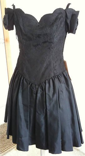 VTG 80s NWT Steppin'Out Party Dress Lace Rhinestones