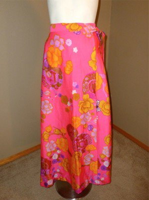 VTG Two Potato Laguna Beach NWT Wraparound Neon Flowers Long Skirt L