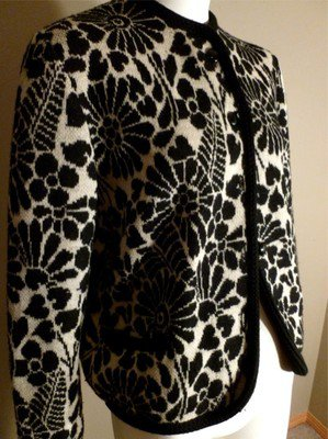 Vintage Catalina Jacquard 40 Black & White Big Flowers Cardigan 40