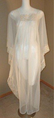 Vintage Gilead Sheer Nylon Boho Caftan Nightgown Ecru Lace Made in USA 36