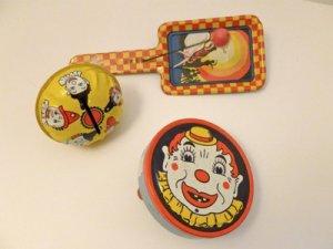 Vintage Lot Tin Noisemakers Kirchhof Newark, N. J. Made in USA Dancer & Clowns