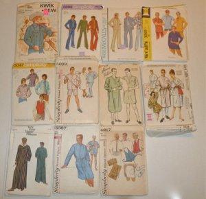Lot Mens Vintage Sewing Patterns 1950's 60's 70's Business Suit Caftan Western
