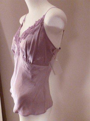 Designer Halston Jeans NWT Lavender Silk & Lace Tank Top M