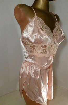 Vintage Shimmery Satiny Peach Lacy Camisole & Tap Panty Set
