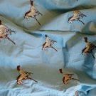 "Vintage Baby Blue Soft Flannel 3"" Embroidered Horse Pattern 4 Yards 42"" Wide"