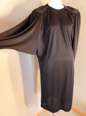 Vintage Jodi Scott York Butterfly Sleeves Draped Dress Sparkly Sequins 7-8