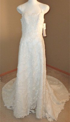 NWT Monique Luo David's Bridal Cathedral Train Wedding Dress Sparkly Mesh Lace