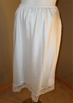 "Vintage Christian Dior Half Slip Snowy White Satiny Lace Trim 25"" Medium"
