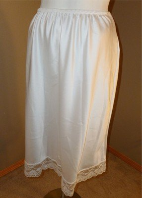 "Vintage Christian Dior Half Slip Snowy White Satiny Lace Trim 25"" Large"
