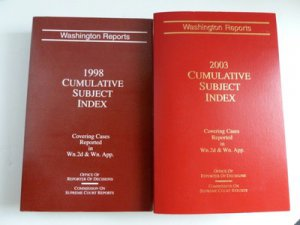 Lot Washington Reports 2003 1998 Cumulative Subject Index Cases Wn. 2d Wn. App.