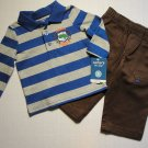 CARTER'S Boy's 6 Months Striped Polo Shirt, Brown Pants Outfit, Dinosaur, NEW