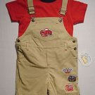 ALL MINE Boy's 18 Months Shirt, Shortalls Set 'Racing'