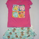 GREENDOG Girl's 4T/4 Pink Monkey Shirt, Skort Set, NEW