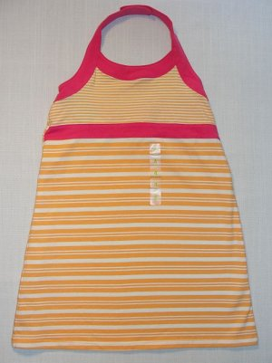 CARTER'S Girl's Size 4 Orange Striped Stretch Sundress, NEW