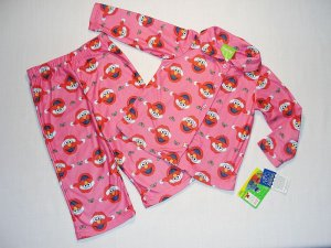 SESAME STREET Girl&#039;s 4T ELMO SANTA PINK PAJAMA COAT SET