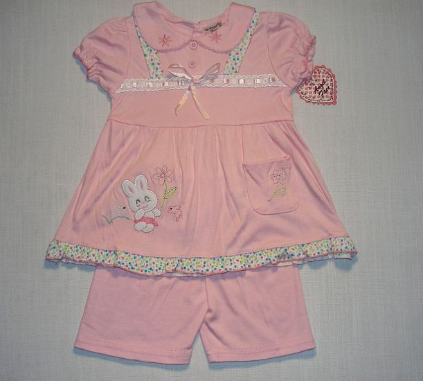 ANGEL FACE Girls 24 Months Pink BUNNY Dress Outfit, NEW