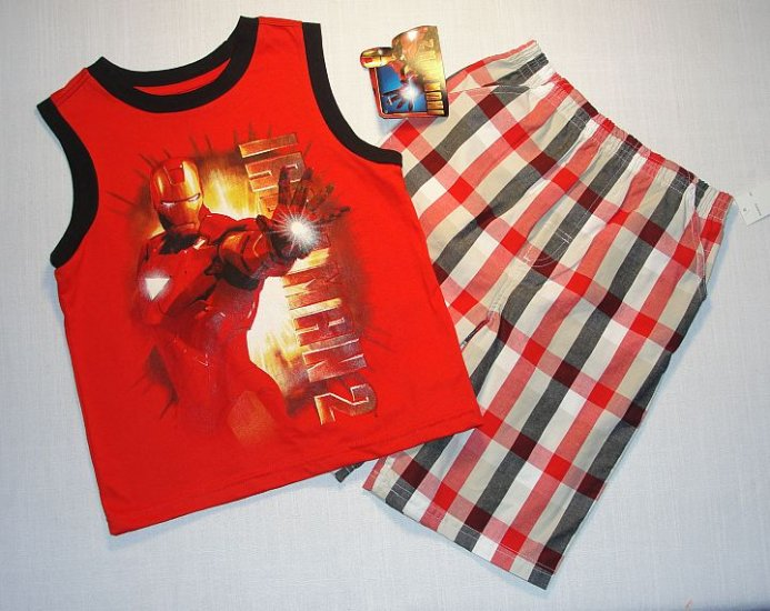 MARVEL IRONMAN Boy's Sz 2T Tank Top, Shorts Outfit, NEW