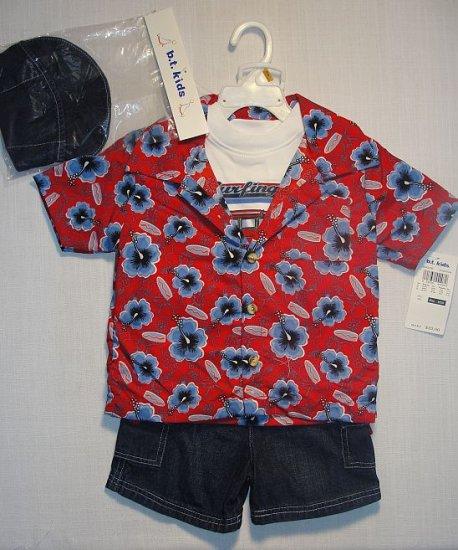 B.T. KIDS Boy's 4T 4-Piece Denim Shorts Set w/ Hat, NEW
