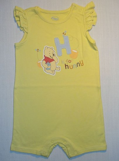 WINNIE THE POOH Girls 24 M, 2 Year Yellow One-Piece NEW