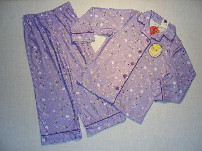 TINKERBELL Girl's Sz 2/3 Purple Fleece Coat Pajama Set