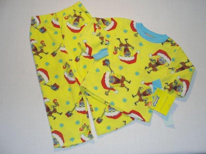 NICKELODEON SPONGEBOB SANTA 4T Fleece Pajama Set, NEW