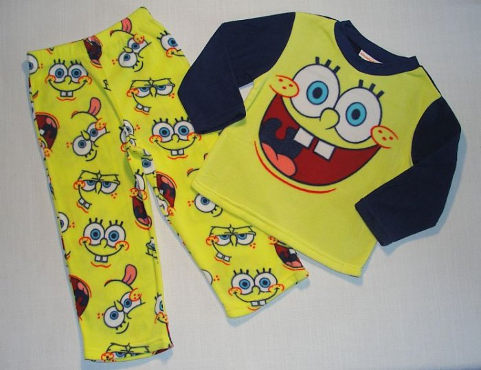 SPONGEBOB Boy's Size 4 Fleece Pajama Pants Set, NEW