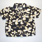 CHEROKEE Boy's 9 Months Short-Sleeved Navy Blue Floral Shirt