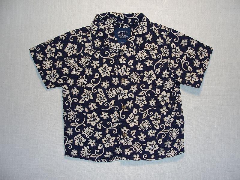 Bowen & Wright Boy's Size 24 Months Navy Blue Floral Short-Sleeved Shirt
