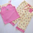 Girls 4/5 Floral Yellow and Pink Pajama Pants Set, NEW
