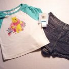 DISNEY Girls 12 M WINNIE The POOH Shorts Outfit, NEW