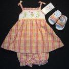 B.T.KIDS Girl's 6-9 M Spring Floral Dress, Sandals Set