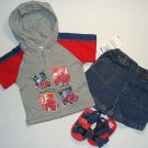 B.T. KIDS Boy's 6-9 M Denim Shorts, Shirt, Sandals Set