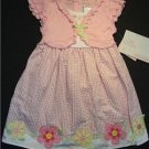 YOUNGLAND Girl's 3T Pink Floral Gingham Dress, NEW