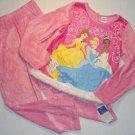 DISNEY PRINCESS Girl's Sz 10 Pink Velour Pajama Set NEW