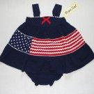 RARE TOO! Girl's 12 Months Seersucker Flag Dress, NEW