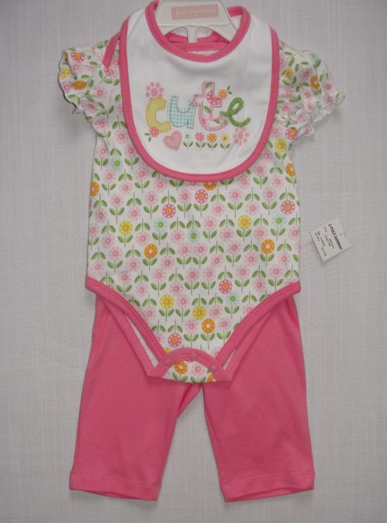 FIRST IMPRESSIONS 0-3 'CUTE' Pink Outfit with Cap, NEW