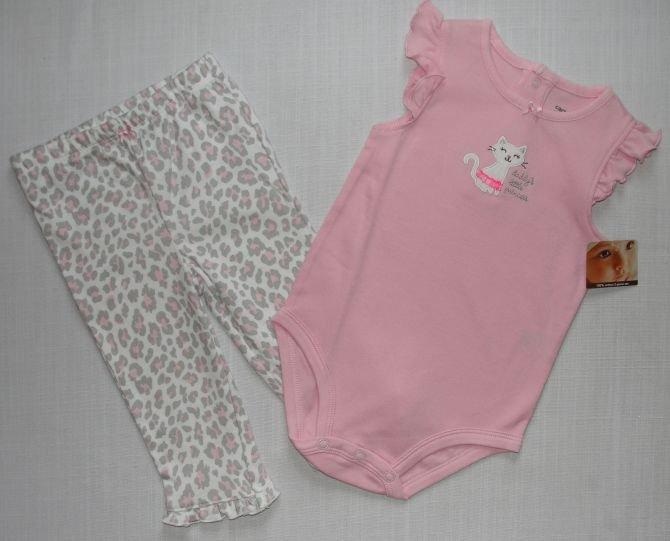 CARTER'S 6 Months Pink Leopard Kitty Pants Set, NEW