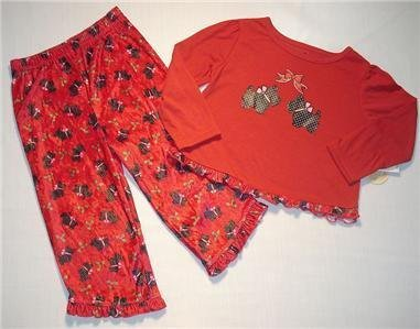 FADED GLORY Girl's 5T SCOTTIE Holiday Pajama Set, NEW