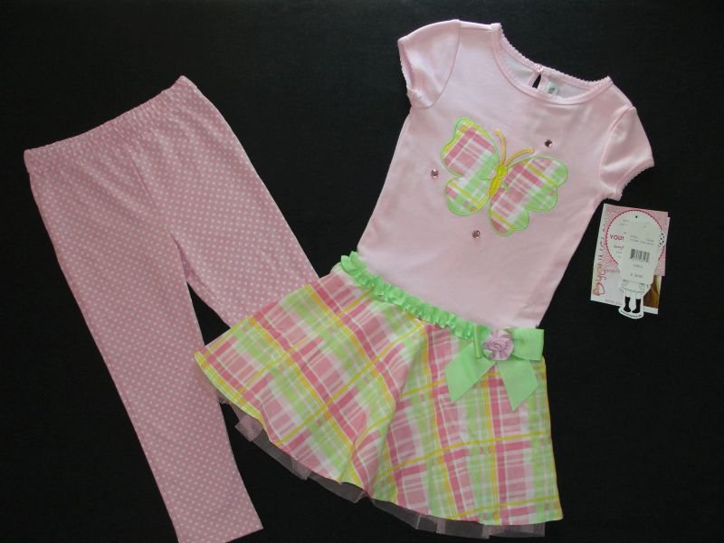 YOUNGLAND Girl's Sz 4 Butterfly Dress Tunic Pants Set