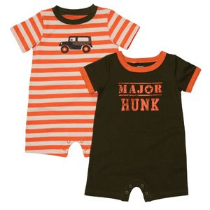 CARTER'S Boy's 9 M Set of Two Rompers, HUNK, JEEP, NEW