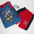 DISNEY MICKEY MOUSE Boy's 4T Tank Shorts Outfit, NEW