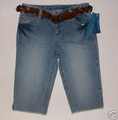 GREENDOG Girls Size 10 Denim Capris w/ Belt NEW