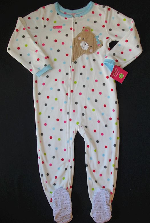 CARTER'S Girl's Size 4T Fleece Polka Dot Teddy Pajama Sleeper, NEW