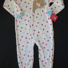 CARTER'S Girl's Size 4T Fleece Polka Dot Teddy Pajama Sleeper, NEW