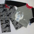 CARTER'S Boy's 2T Camoflauge Snow Monster Fleece Pajama Set, NEW