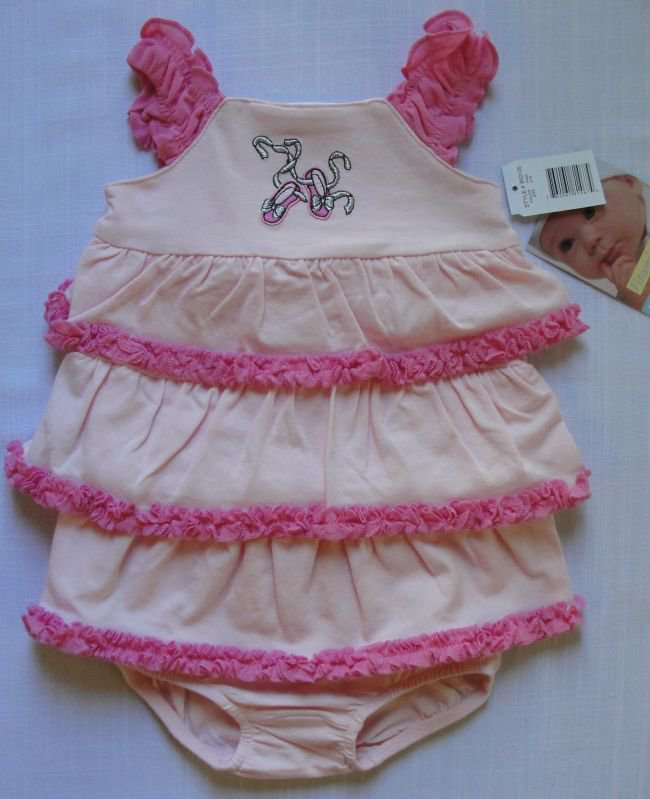 VITAMINS Baby Girl's 3 Month Ballerina Pink Tiered Dress Set, NEW